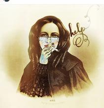 masked woman smoking